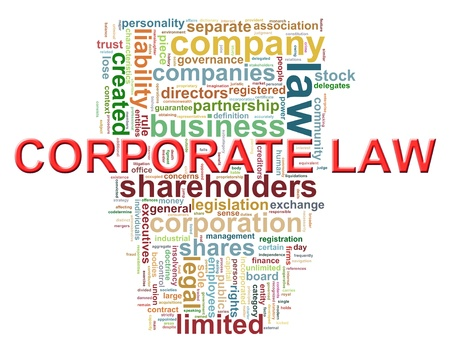 Illustration of Worldcloud word tags of corporate law  Stock Photo