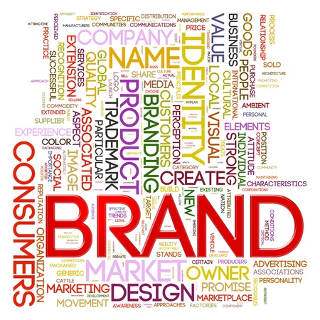 branded product: Illustration of words tags of brand wordcloud Stock Photo