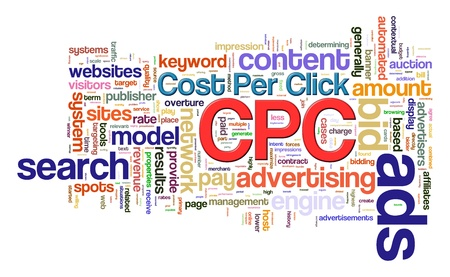 Illustration of wordcloud word tags of cpc - cost per click  illustration