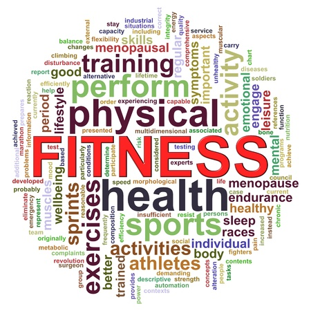 hardiness: 3d Illustration of Wordcloud word tags of fitness Stock Photo