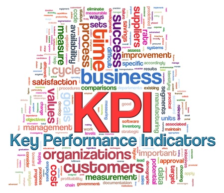 Illustration of Wordcloud word tags of kpi - key performance indicators illustration