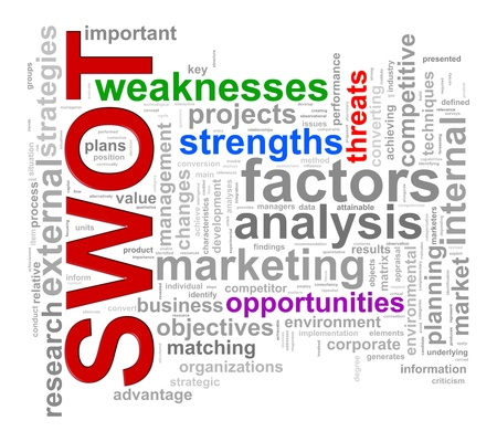 swot: Illustration of words tags worcloud of swot -  strengths weaknesses threats and opportunities