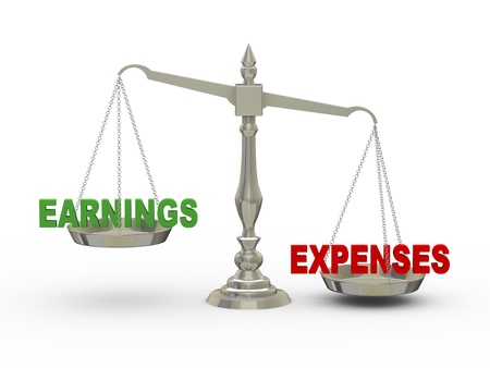 wages: 3d illustration of earnings and expenses on scale    Stock Photo