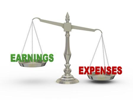 salarios: 3d ilustraci�n de los ingresos y gastos en la escala de Foto de archivo