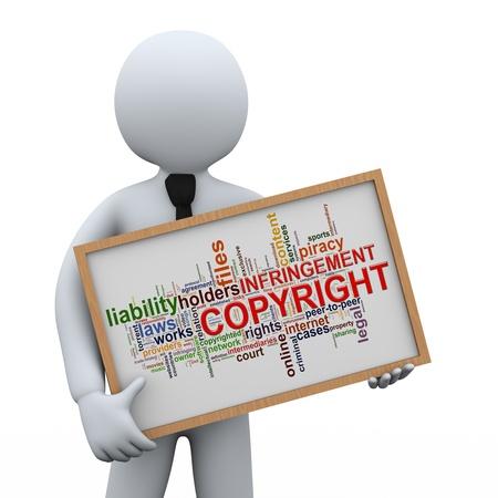 infringement: 3d illustration of man holding copyright infringement