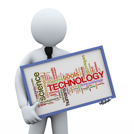 textcloud: 3d illustration of man holding technology words tags board