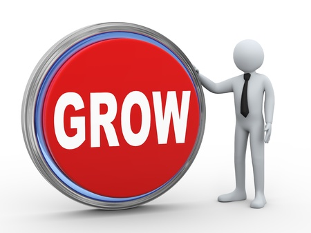 3d illustration of man with grow button Stock Illustration - 21082569