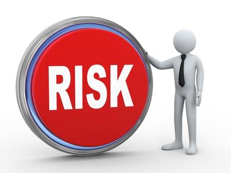 3d illustration of man with risk button illustration