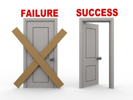 3d illustration of closed door of concept of failure and open door having word success  illustration