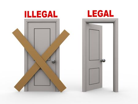 lawful: 3d illustration of closed door of concept of illegal and open door having word legal