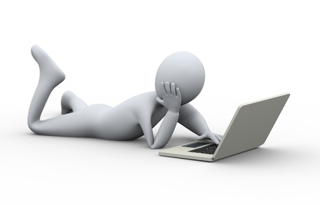 relaxed man: 3d illustration of relaxed man lying on floor easy and fun using of laptop