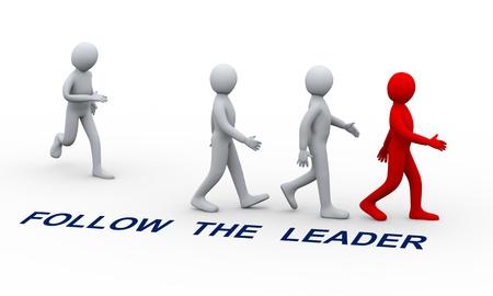 follow the leader: 3d illustratie van de mens toetreding groep mensen na zijn teamleider Stockfoto