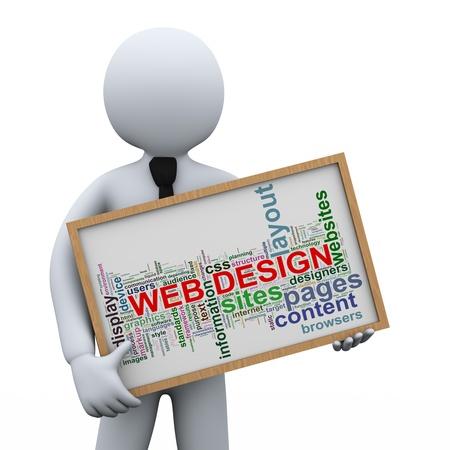 3d illustration of man holding web design words tags