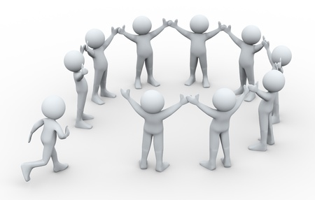 3d illustration of man running to join group of people connected in circular shape