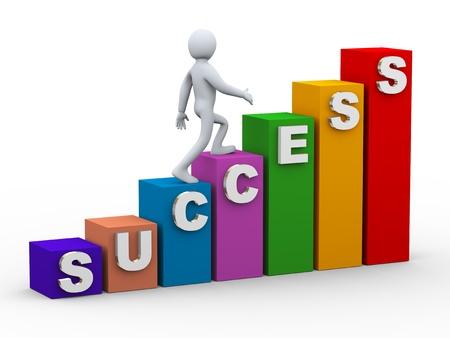 3d illustration of businessman person walking on success progress bars Stock Illustration - 21082852