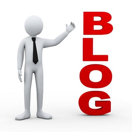 weblog: 3d illustration of businessman presenting concept word blog