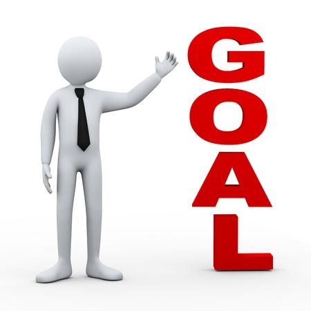3d illustration of businessman presenting concept word goal Stock Illustration - 21082902