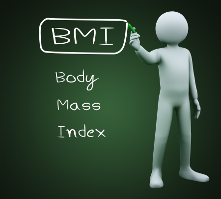 bmi: 3d illustration of person with marker writing bmi body mass index