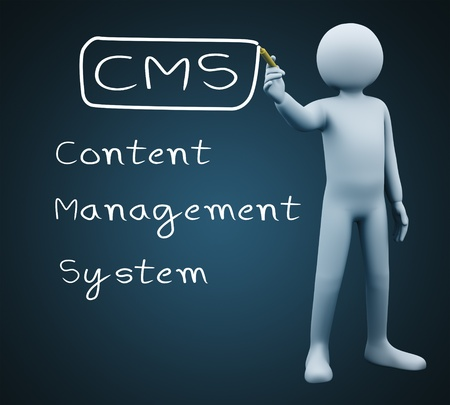 content writing: 3d illustration of person with marker writing cms - Content Management System