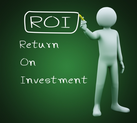 3d illustration of person with marker writing roi - return on investment Stock Illustration - 21082971