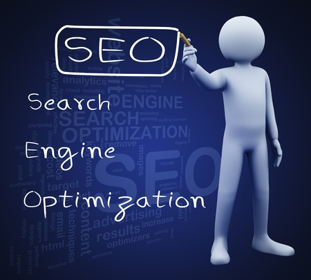 metasearch: 3d illustration of person with marker writing seo search engine optimization Stock Photo