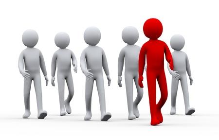 3D-afbeelding van de groep van mensen na hun leider