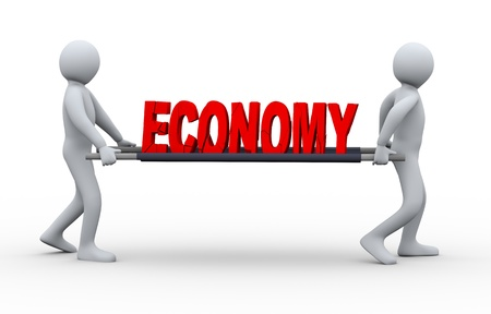 economic recovery: 3d illustration of men taking cracked and destroy word economy for treatment Stock Photo