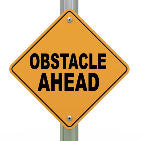 critique: 3d illustration of yellow roadsign of obstacle ahead Stock Photo