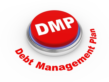 debt management: 3d illustration of dmp debt management plan button