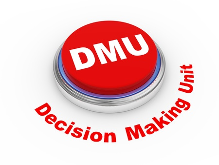 3d illustration of dmu decision making unit  button  illustration