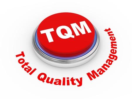 3D-afbeelding van TQM total quality management-knop