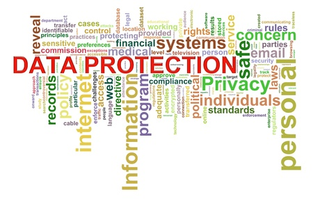 Illustration of Worldcloud word tags of data protection concept