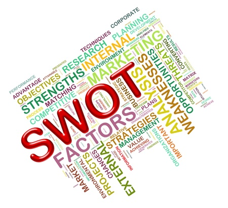 factors: Illustration of Worldcloud word tags of swot -  strengths weaknesses threats and opportunities Stock Photo