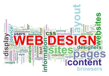 Illustratie van wordcloud van webdesign-tags Stockfoto