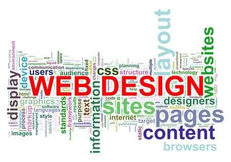 title page: Illustration of wordcloud of web design tags Stock Photo