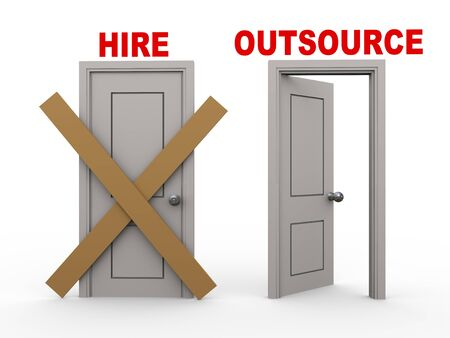 offshoring: 3d illustration of closed door of concept of hire and open door having word outsource   Stock Photo