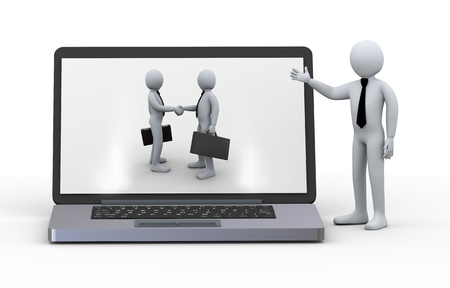 ecomerce: 3d illustration of businessman presentation of laptop with business partner handshake on screen