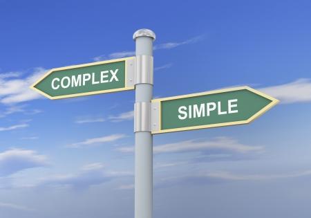 3D-afbeelding van bord van woorden complexe en eenvoudige