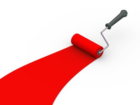 3d illustration of roller brush painting red color Stock Illustration - 21232916