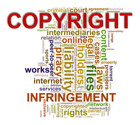 infringement: Illustration of wordcloud word tags of copyright infringement