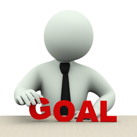 3d illustration of business person placing word goal.  3d rendering of human people character. Stock Illustration - 21232919