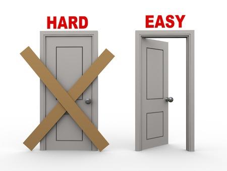 3d illustration of closed door of concept of hard and open door having word easy.