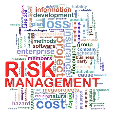Illustration of Worldcloud word tags of risk management illustration