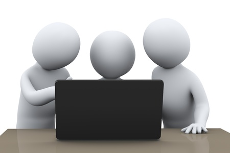 expertise: 3d illustration of business people working together with laptop  3d rendering of human busienss people character