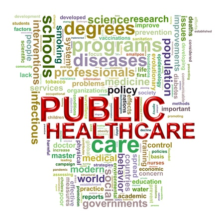 public health: Illustration of Worldcloud word tags of concept of public healthcare  Stock Photo