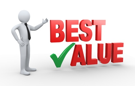value: 3d illustration of man presenting best value having right check mark.  3d rendering of human people character.