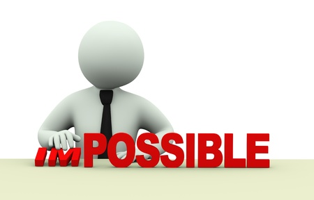 3D illustratie van zakelijke persoon verandering woord onmogelijk in mogelijk. 3D-weergave van de menselijke mensen karakter