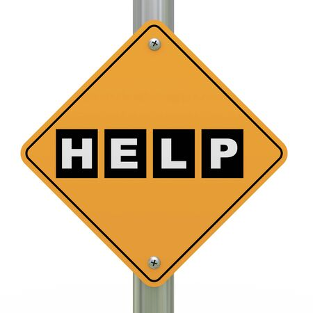 hints: 3d illustration of yellow roadsign of help
