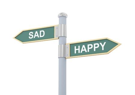 pessimist: 3d illustration of roadsign of words sad and happy