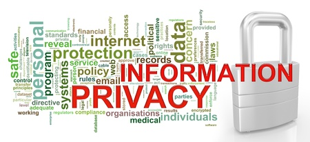 Illustration of Worldcloud word tags of information privacy concept